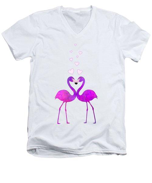 Flamingo Love Connection Men's V-Neck T-Shirt
