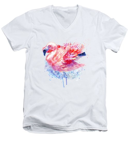 Flamingo On The Water Men's V-Neck T-Shirt by Marian Voicu