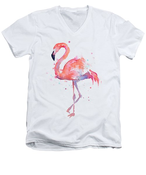 Flamingo Watercolor Men's V-Neck T-Shirt
