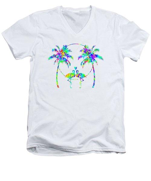 Flamingos In Love - Splatter Art Men's V-Neck T-Shirt by SharaLee Art