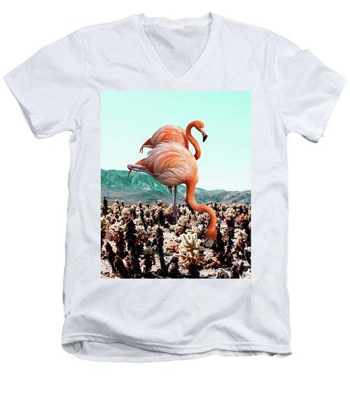 Flamingos In The Desert Men's V-Neck T-Shirt