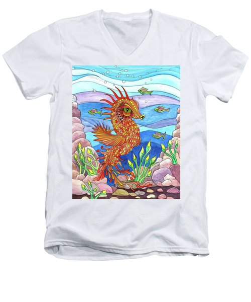 Flashy Swimmer And Fishes Men's V-Neck T-Shirt