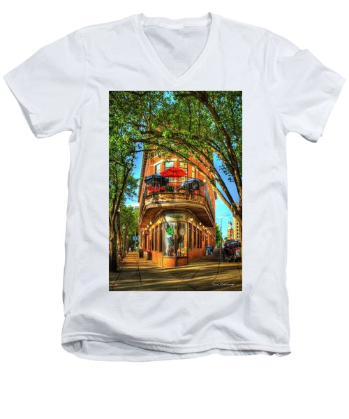 Flatiron Style Pickle Barrel Building Chattanooga Tennessee Men's V-Neck T-Shirt by Reid Callaway