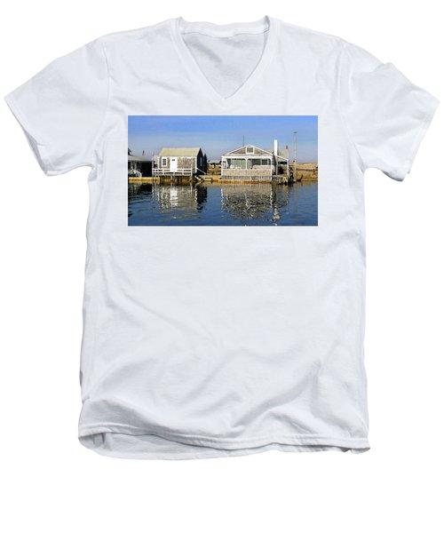 Fletchers Camp And The Little House Sandy Neck Men's V-Neck T-Shirt