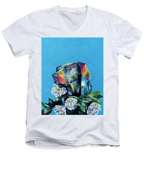 Fleur's Moment Men's V-Neck T-Shirt by Arleana Holtzmann