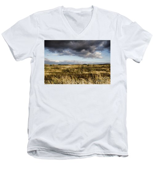 Men's V-Neck T-Shirt featuring the photograph Flinders Ranges Fields V3 by Douglas Barnard
