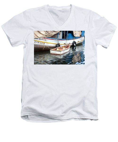Men's V-Neck T-Shirt featuring the photograph Floating Market by Allen Carroll