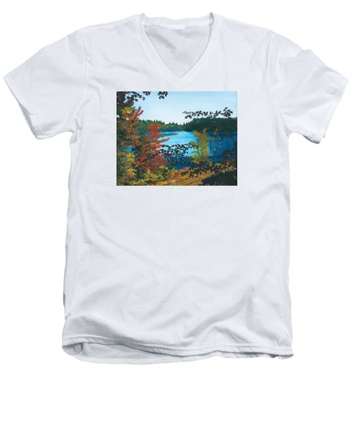 Men's V-Neck T-Shirt featuring the painting Floodwood by Lynne Reichhart