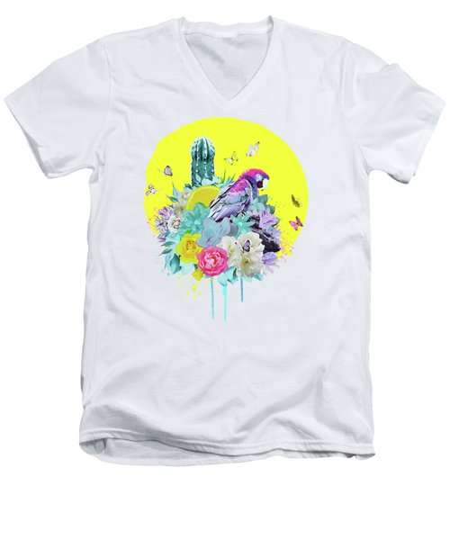 Floral Ara Men's V-Neck T-Shirt
