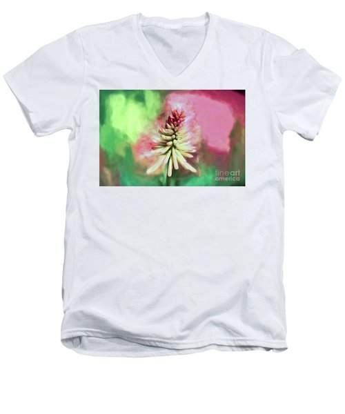 Men's V-Neck T-Shirt featuring the photograph Floral Art - Red Hot Poker by Kerri Farley