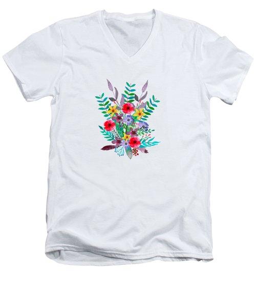Floral Bouquet Men's V-Neck T-Shirt by Amanda Lakey