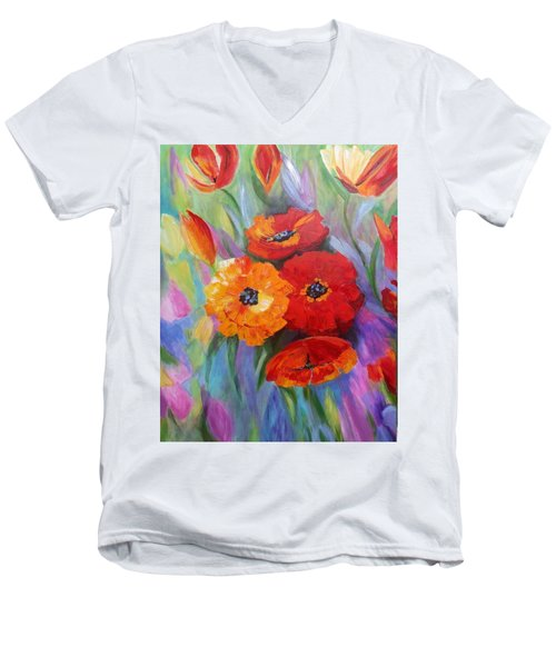 Floral Fusion Men's V-Neck T-Shirt