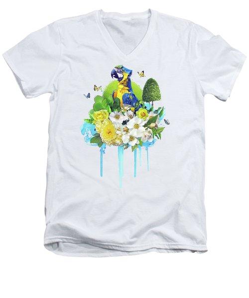 Floral Parrot Men's V-Neck T-Shirt
