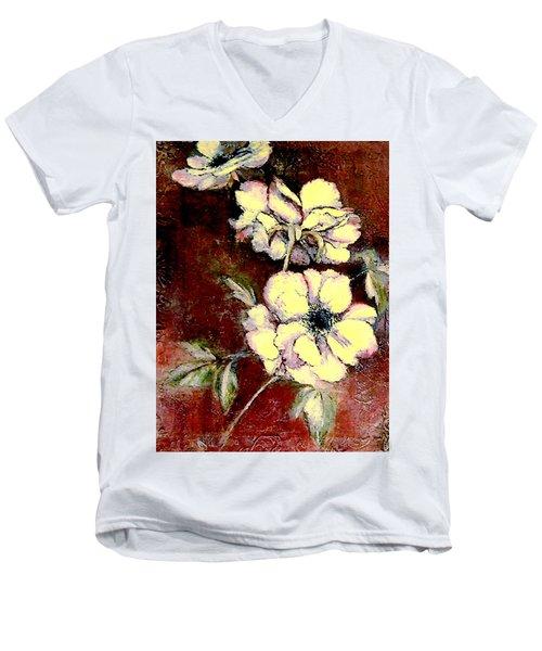 Floral Watercolor Painting Men's V-Neck T-Shirt by Merton Allen