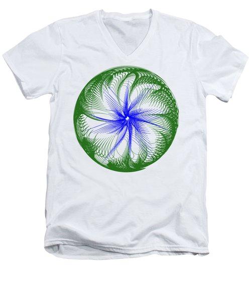 Floral Web - Green Blue By Kaye Menner Men's V-Neck T-Shirt by Kaye Menner
