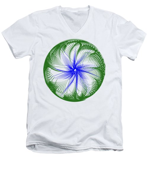 Floral Web - Green Blue By Kaye Menner Men's V-Neck T-Shirt