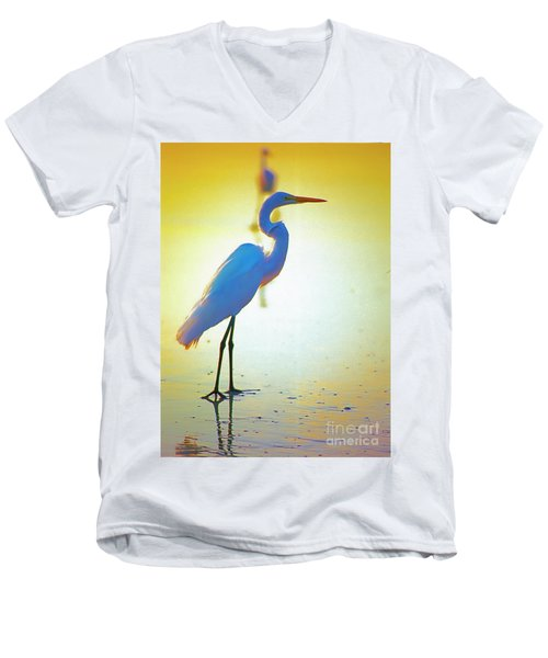 Florida Atlantic Beach Ocean Birds  Men's V-Neck T-Shirt