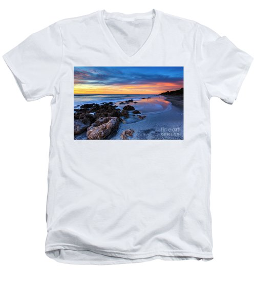 Florida Beach Sunset 3 Men's V-Neck T-Shirt