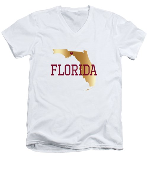 Florida Gold And Garnet With State Capital Typography Men's V-Neck T-Shirt