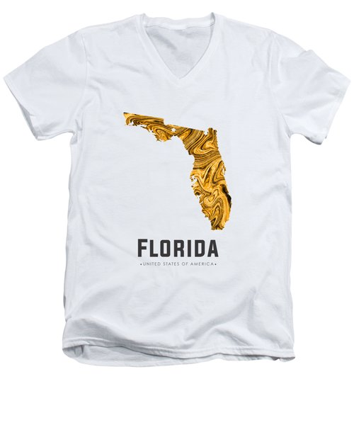 Florida Map Art Abstract In Yellow Gold Men's V-Neck T-Shirt