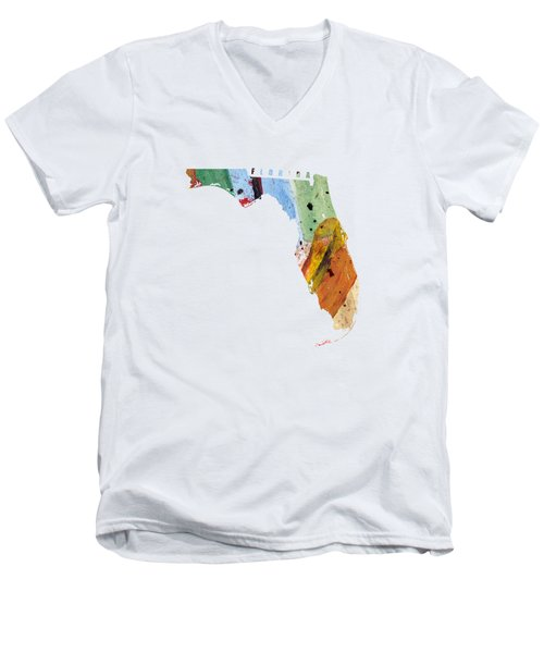 Florida Map Art - Painted Map Of Florida Men's V-Neck T-Shirt by World Art Prints And Designs