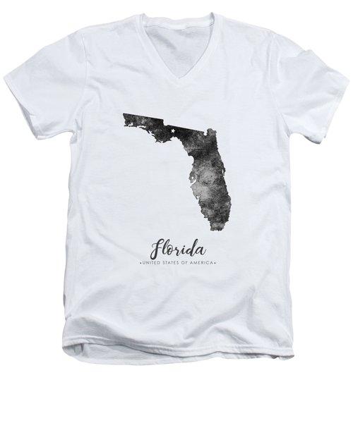 Florida State Map Art - Grunge Silhouette Men's V-Neck T-Shirt