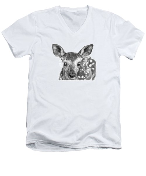 Men's V-Neck T-Shirt featuring the drawing Florry The Fawn by Abbey Noelle