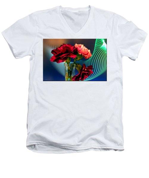 Flower Decor Men's V-Neck T-Shirt by Mikki Cucuzzo