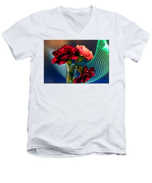 Flower Decor Men's V-Neck T-Shirt