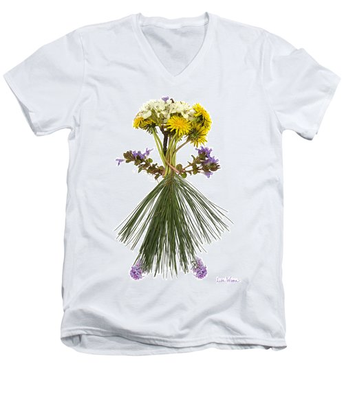 Flower Head Men's V-Neck T-Shirt by Lise Winne