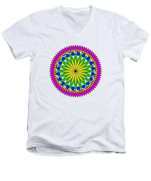 Flower Mandala By Kaye Menner Men's V-Neck T-Shirt by Kaye Menner