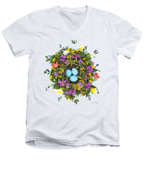 Flower Nest Men's V-Neck T-Shirt by Lise Winne