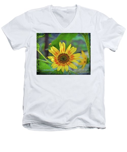 Men's V-Neck T-Shirt featuring the photograph Flower Of The Sun by Kerri Farley