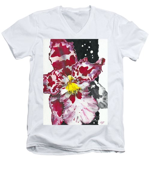 Men's V-Neck T-Shirt featuring the painting Flower Orchid 11 Elena Yakubovich by Elena Yakubovich