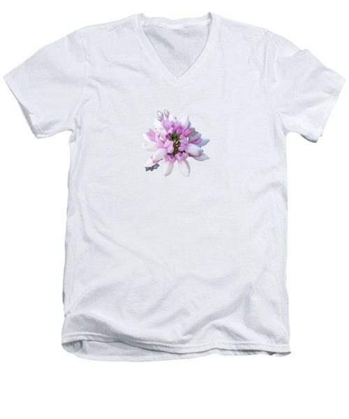 Men's V-Neck T-Shirt featuring the photograph Flower Securigera Varia 2 by Mike Breau