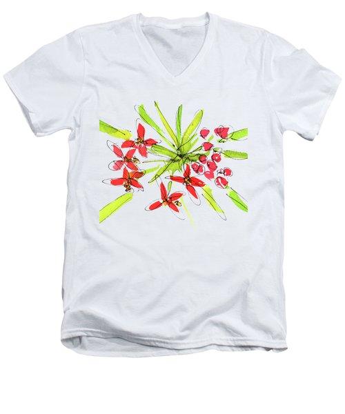 Flower Star By Kmcelwaine Men's V-Neck T-Shirt