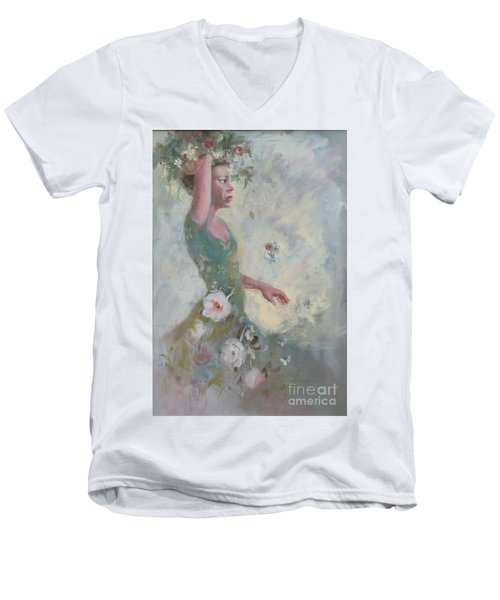 Flower Vender Men's V-Neck T-Shirt by Gertrude Palmer