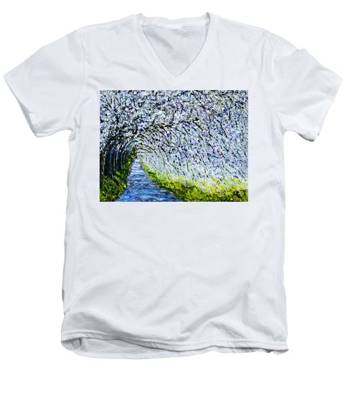Flowering Tree Lane Men's V-Neck T-Shirt