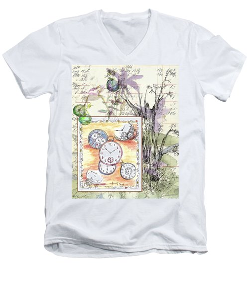 Men's V-Neck T-Shirt featuring the drawing Flowers And Time by Cathie Richardson