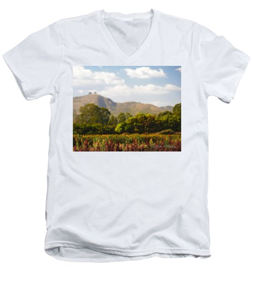 Men's V-Neck T-Shirt featuring the photograph Flowers And Two Trees by John A Rodriguez