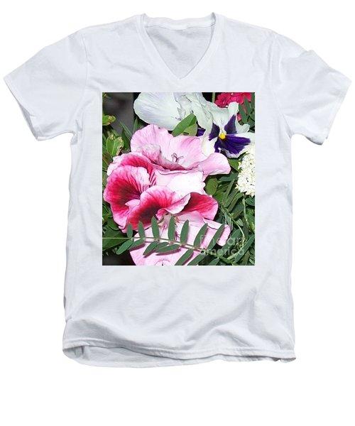 Men's V-Neck T-Shirt featuring the photograph Flowers From The Heart by Jolanta Anna Karolska