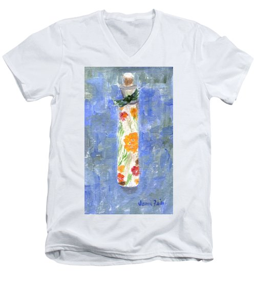 Men's V-Neck T-Shirt featuring the painting Flowers In A Bottle by Jamie Frier