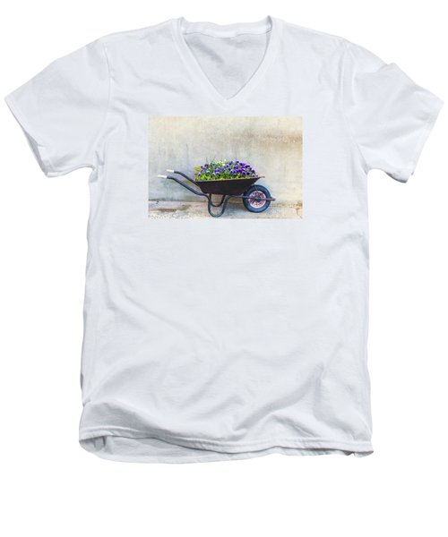 Flowers In A Wheelbarrow Men's V-Neck T-Shirt