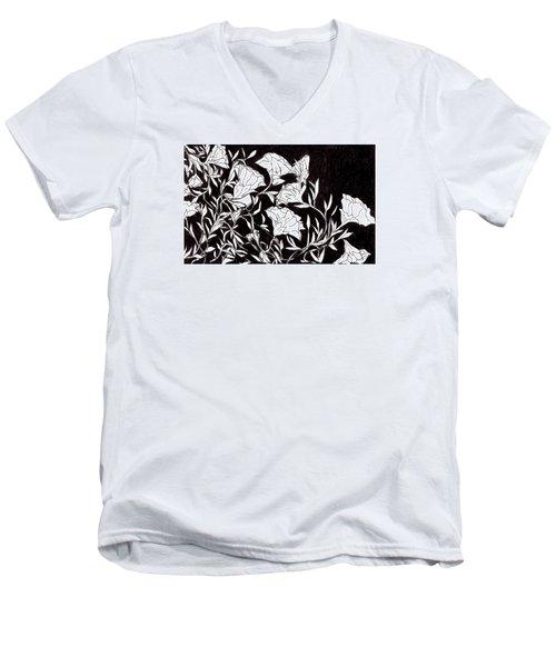 Flowers Men's V-Neck T-Shirt by Lou Belcher