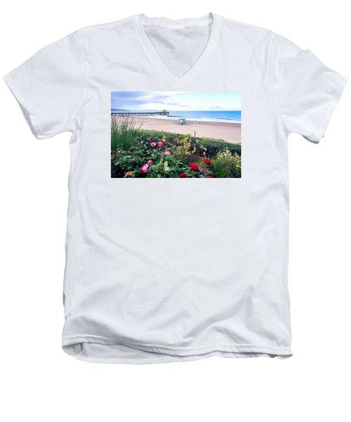 Flowers Of Manhattan Beach Men's V-Neck T-Shirt by Art Block Collections