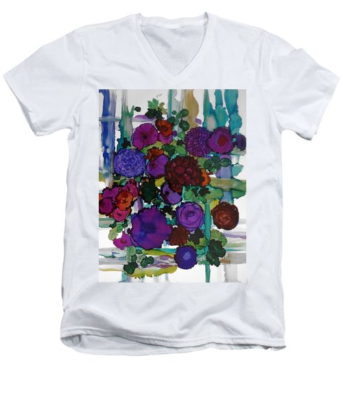 Flowers On Trellis Men's V-Neck T-Shirt by Alika Kumar