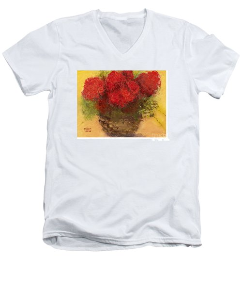 Men's V-Neck T-Shirt featuring the mixed media Flowers Red by Marlene Book