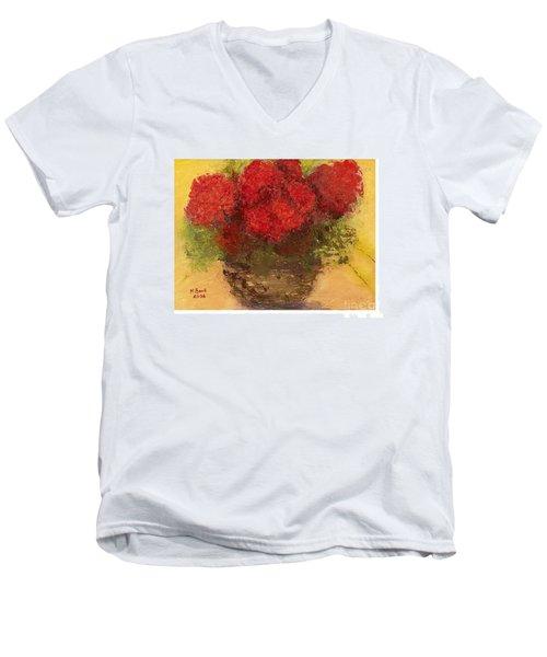 Flowers Red Men's V-Neck T-Shirt