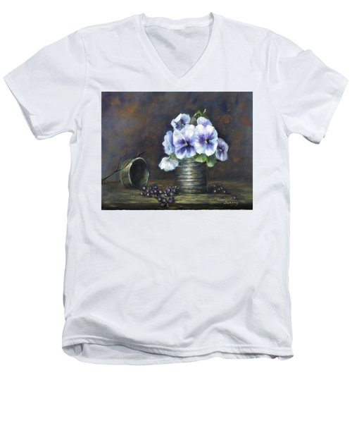 Men's V-Neck T-Shirt featuring the painting Flowers,pansies Still Life by Luczay