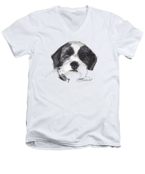 Fluffy Black And White Dog Watercolor Painting Men's V-Neck T-Shirt
